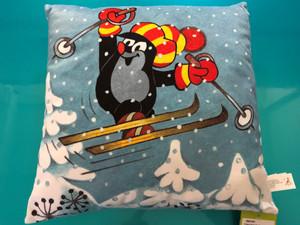 Pillow Little Mole 30x30cm, skier / Polštář Krtek 30x30cm, lyžař / Kissen Maulwurf 30x30, Skifahrer / Kisvakond párna síelő / 99915M / Zdenek Miler / Made in Czech Republic (8590121502962)