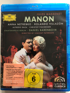 Jules Massenet - Manon 2007 Blu-ray disc / Directed by Vincent Paterson / Starring: Anna Netrebko, Rolando Villazón / Conductor: Daniel Barenboim / Recorded live from the Berlin Staatsoper april-may 2007 / Deutsche Grammophon (044007344774)
