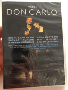 Giuseppe Verdi 2DVD 2014 Don Carlo: Wiener Philharmoniker / Opera in five acts / Wiener Staatsopernchor / Conducted by Antonio Pappano / Starring: Jonas Kaufmann, Anja Harteros... / Recorded live at the Salzburg Festival 2013 / Sony Classical (888430057692)