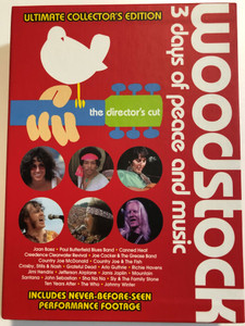 Woodstock 4x DVD Box 1994 3 days of peace and music - The Director's cut / Ultimate Collector's edition / Includes Never-before-seen performance footage / Canned Heat, Joe Cocker, Grateful Dead, Jimi Hendrix, Janis Joplin, The Who (5999048925824)
