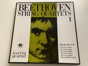 Beethoven: String Quartets 1 / Bartók Quartet / Op. 18 Nos. 1- 6: No. 1 in F major, No. 2 in G major, No. 3 in D major, No. 4 in C minor, No. 5 in A major, No. 6 in B flat major / Hungaroton 3x LP Stereo / LPX 11423-25