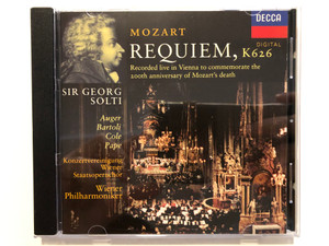 Mozart - Requiem, KV 626 / Recorded live in Vienna to commemorate the 20th anniversary of Mozart's death / Sir Georg Solti / Auger, Bartoli, Cole, Pape / Konzertvereinigung Wiener Staatsopernchor / Decca Audio CD 1992 Stereo / 433 688-2