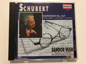Schubert: Symphonien Nos. 8 & 9 ''Unvollendete, Unfinished, Inachevee'' / Sándor Végh, Camerata Academica Salzburg / Capriccio Audio CD 1994 Stereo / 10 503