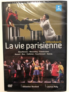 Offenbach: La vie parisienne DVD 2007 Recorded live at Opera national de Lyon / Directed by Francois Roussillon / Stage Director Laurent Pelly / Opera-bouffe in 4 acts / Actors: Jean-Sebastien Bou, Maria Riccarda Wesseling, Laurent Naouri, Marie Devellerau / Erato (5099951930196)