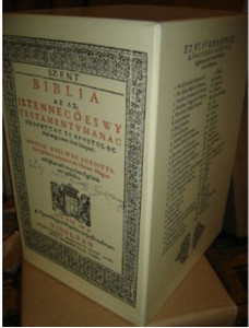 A copy of the Hungarian Vizsolyi Biblia from 1590 with a DVD ROM that also co...