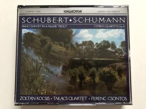 "Schumann, Schubert - Piano Quintet In A Major ""Trout"", 3 String Quartets, Op. 41 / Zoltán Kocsis, Takács Quartet, Ferenc Csontos / Hungaroton 2x Audio CD 1987 Stereo / HCD 12918-19"