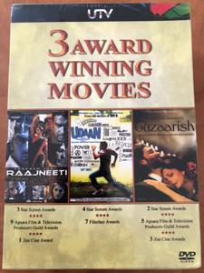 3 award winning Movies - Raajneeti - Udaan - Guzaarish 3 DVD 2011 / Directed by Prakash Jha, Vikramaditya Motwane, Sanjay Leela Bhansali / Starring: Ranbir Kapoor, Ajay Devgn, Nana Patekar, Rajat Barmecha, Ronit Roy, Hrithik Roshan (8904140715294)