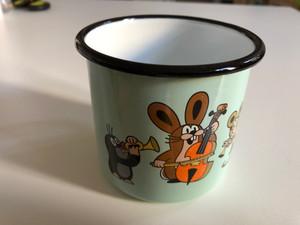 Krtek Enamel mug 8cm, Mole, mint color, musicians / Kisvakond és zenészek motívumal zománcozott bögre (8590121507172)