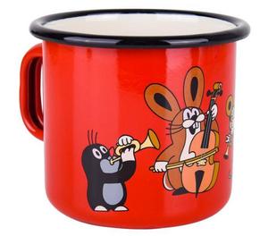 Krtek Enamel mug 8cm, Mole, red color, musicians / Kisvakond és zenészek motívumal zománcozott piros bögre ( 8590121507028)