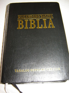 Black Leather Tagalog Popular Version Bible with thumb index, and golden edges