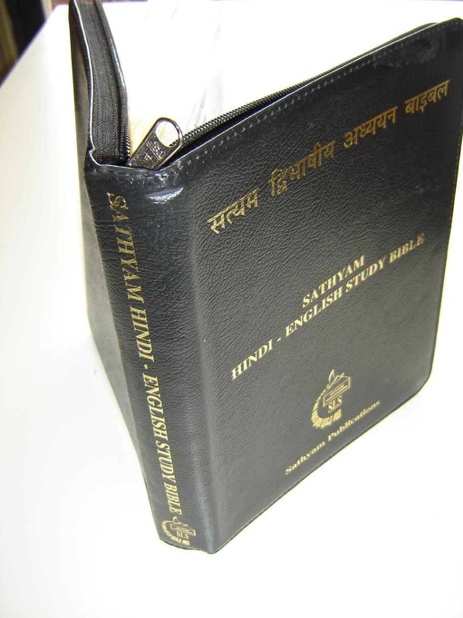 Sathyam Hindi - English Bilingual Study Bible / NASB Updated / Containing  Cross References, Concordance, Study Notes and Maps / Leather Bound with