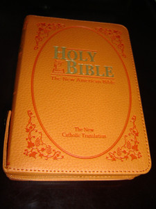 Catholic Bible ORANGE Leather Cover with Zipper, Golden Edges