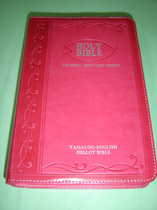 Tagalog - English Bilingual Bible / Luxury PINK Leather Bound, Silver Edges, Diglot