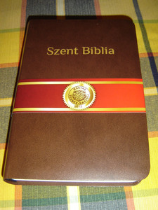 Szent Biblia - Hungarian Bible - Brown Cover / Karoli Gaspar Reszben Atdolgozott Kiadas /  / Words of Jesus with Red Letter / Reward Winning Bible / Jézus szavai PIROS kiemeléssel / 64 MAPS