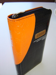 Slimline Russian Bible / Artificial Leather, Black and Orange cover colors, Compact Reference Bible with Zipper