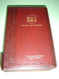 Tagalog - English Bilingual Bible / Luxury Dark BURGUNDY