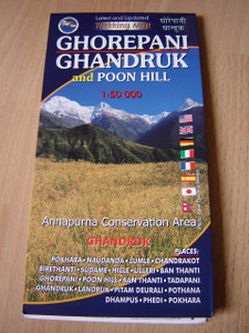 GHOREPANI - GHANDRUK - POON HILL and KHOPRA Trekking Map / 1:50 000 / Annapurna Conservation Area