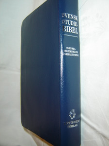 Swedish Study Bible Blue Leather Bound with Silver Edges / Svensk Studiebibel
