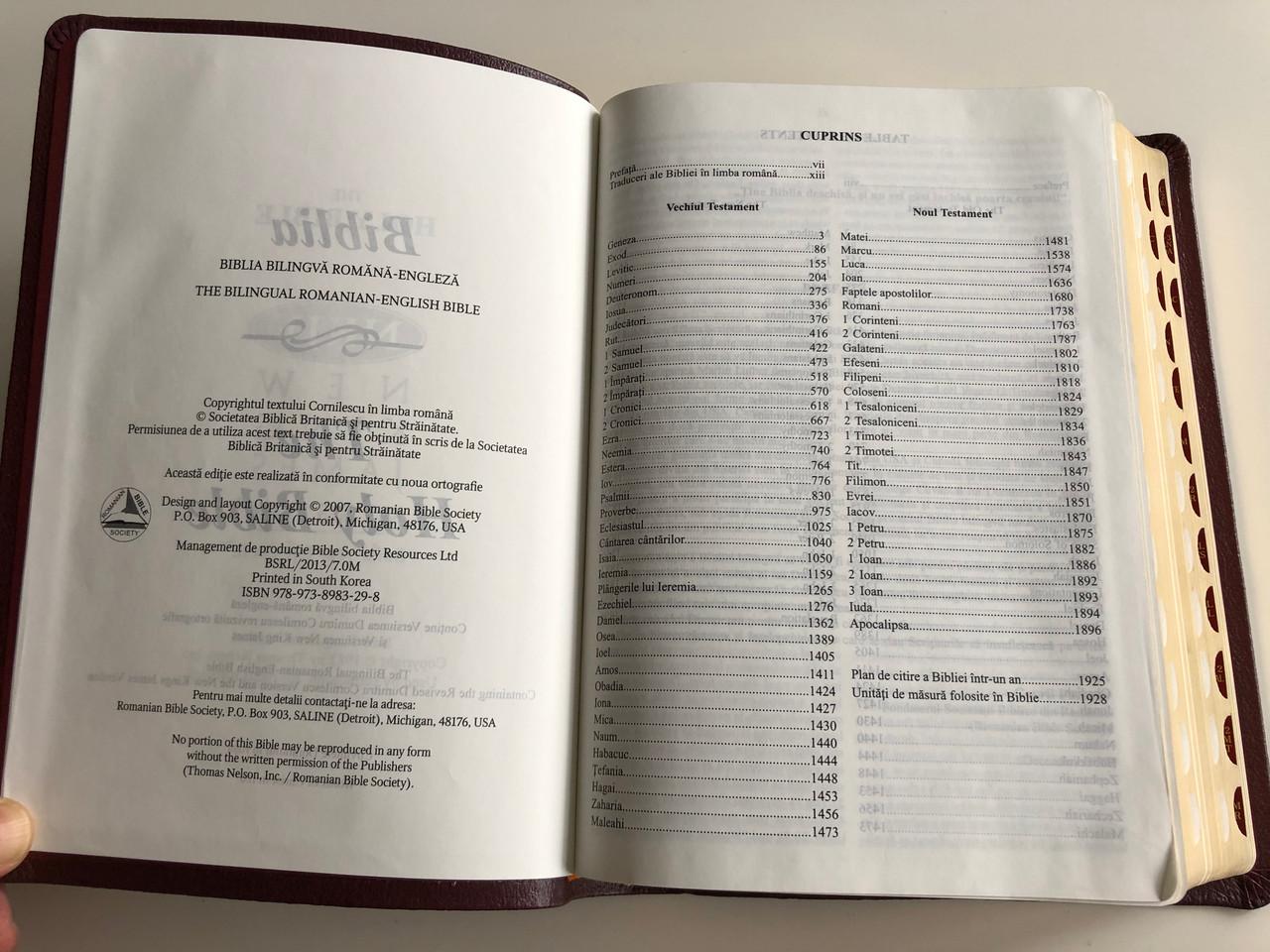 Romanian - English Bilingual Holy Bible RDCV - NKJV / Burgundy / Genuine  Leather Bound / Biblia Bilingvă Romănă - Engleză / Golden Edges, Thumb
