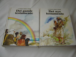 Norwegian Language Children's The Lion Story Bible in 2 Volumes / Lundes Bibelserie I-II Det Gamle Testamente and Det Nye Testamente