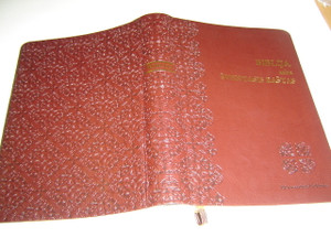Lithuanian Bible Ecumenical Edition DC Deep Burgundy Leather Bound with Golden Edges, and Thumb Index / Biblija arba Sventasis Rastas
