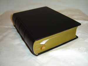 Mongolian Black Genuine Leather Bound Bible with Golden Edges