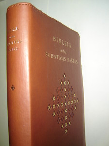 Lithuanian Bible Ecumenical Edition DC Brown Leather Bound with Zipper, Golden Edges, and Thumb Index