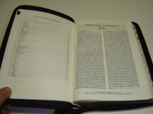 Latvian Bible Black Leather Bound with Golden Edges, Zipper, and Thumb Index 074ZTIFIB