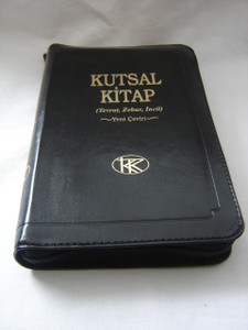 Turkish Bible / Black Leather Bound with Zipper / Kutsal Kitap (Tevrat, Zebur, Incil) Yeni Ceviri