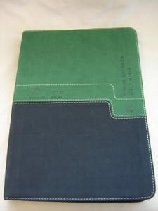 Portuguese - English Bilingual Bible (NVI - NIV) / Biblia NVI Portugues - Ingles Verde e Azul / Luxury Leather Bound Green and Blue