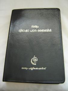 Malayalam & English (NASB) Study Bible / Black Leather Bound with Golden Edges / Sathyam Bilingual Study Bible