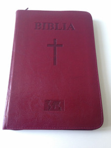 Romanian Large Bible / Burgundy Leather Bound with Zipper / Biblia sau Sfanta Scriptura