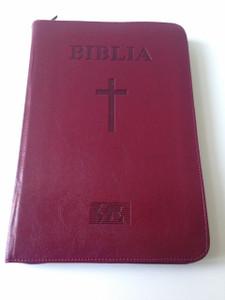 Romanian Large Bible / Burgundy Leather Bound with Zipper / Biblia sau Sfanta Scriptura