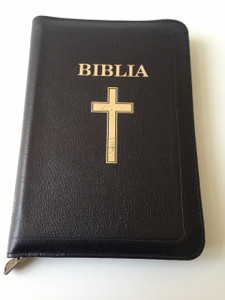 Luxury Romanian Language Bible - Revised Edition / Biblia sau Sfanta Scriptura - Editie revizuita / Mid-Size with Cross on Cover