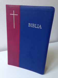 Romanian Bible - Revised Edition / Biblia sau Sfanta Scriptura - Editie Revizuita / Dumitru Cornilescu  Version / Burgundy - Blue Duo-Tone Cover