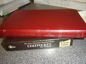 NASB '95 Coatpocket New Testament / Words of Christ with Red / Burgundy Bonded Leather, Golden Edges / NA28BG