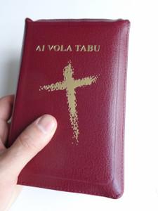 Fijian Holy Bible / Compact Burgundy Leather Bound with Zipper, Golden Edges / 44ZBUR / Ai Vola Tabu