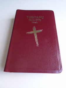 Tuvaluan Language Study Bible 64P / Tusitapu Tauloto Tuvalu / Golden Edges, Burgundy Leather Bound