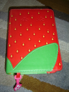 Chinese Union Version Bible Strawberry Cover, Golden Edges, Thumb Index / The First Girls Purse Size Chinese Bible