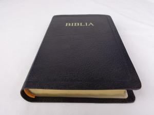 Black Genuine Leather Romanian Bible / Thumb Index, Golden Edges / Biblia sau Sfanta Scriptura Cu Trimiteri