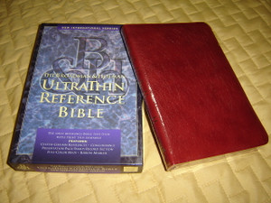 NIV Ultrathin Reference Bible / Burgundy Leather Bound with Golden Edges