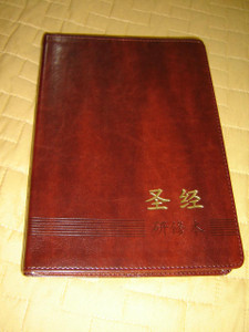 Chinese Study New Testament / Brown Leather Bound Golden Edges / Full Color Illustrations / The ESV Study Bible study notes and materials translated to Mandarin Chinese Language / 2015 Print CUV Text