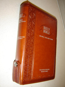 Brown Leather with Zipper Tagalog–English Diglot Bible TAG/KJV 055, 2015 Edition / Ang Biblia TLAB – King James Version KJV