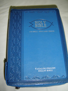 Tagalog – English Bible, 2011 Edition / Light Blue Leather Bound, Zipper, Silver Edges, Diglot / Ang Banal Na Kasulatan Tagalog - KJV 055