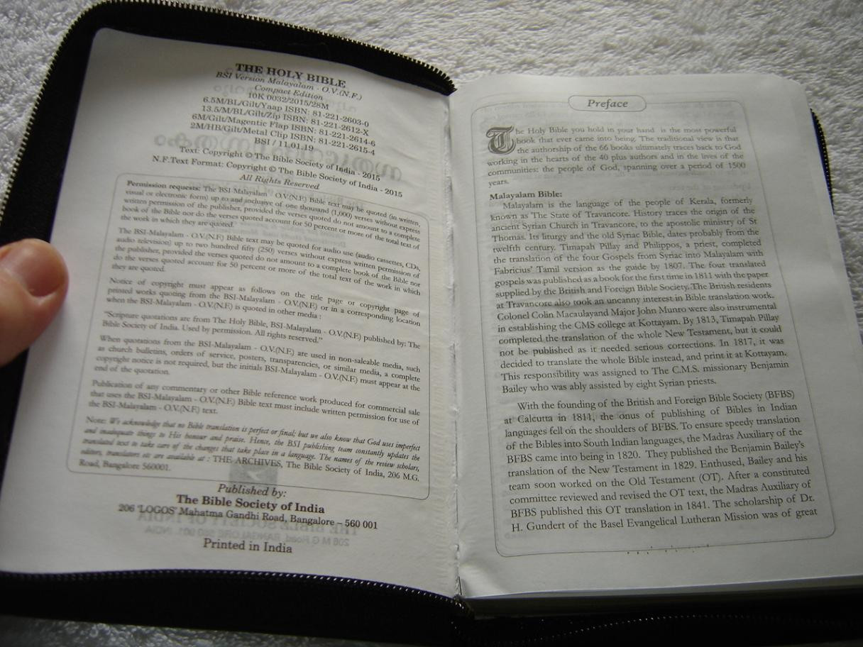Malayalam Language Holy Bible O V  (N F ) Compact Edition Zippered Black  Leather with Golden Edges