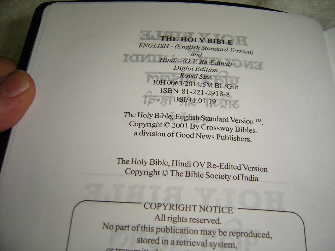 English-Hindi Bilingual Holy Bible, Royal Size Glided Black Leather:  English Standard Version ESV – Hindi O V  Re-Edited