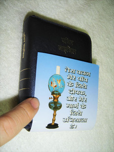The Holy Bible: Hindi BSI Version O. V. Pocket Pearl VL / Blue Leather with Zipper Compact Bible