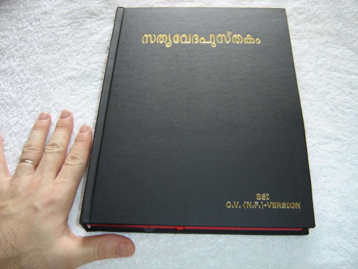 Malayalam Language Large Pulpit Bible, Black Hardcover with Red Edges