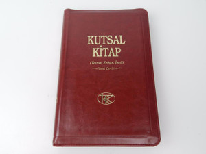 Turkish Burgundy Zippered Leather Holy Bible / Kutsal Kitap: Tevrat, Zebur, Incil / Yeni Ceviri