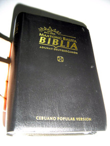 Cebuano Popular Version Bible with Deuterocanonicals, Black Vinyl Softcover with Thumb Index and Golden Edges / RCPV033DC / Ang Bag-Ong Maayong Balita Biblia adunay Deuterocanon